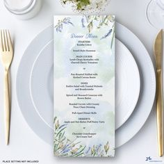 """Boho Watercolor Lavender Dinner Printable Menu Card, Two 4"""" x 9.25"""" Card Templates - Editable PDF, Instant Download by StarStreamPrintables on Etsy Printable Water Bottle Labels, Printable Menu, Printables, Paintball Birthday, Birthday Party Images, Heavy And Light, Menu Cards, Menu"""