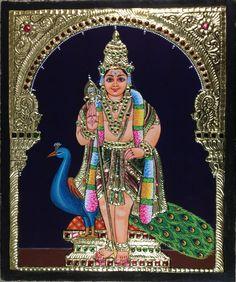 Tanjore Kartikeya Painting Handmade Indian Thanjavur Murugan Wall Decor Gold Art