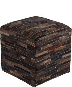 Signature Design by Ashley Cowhide Pouf Dark Brown A1000448