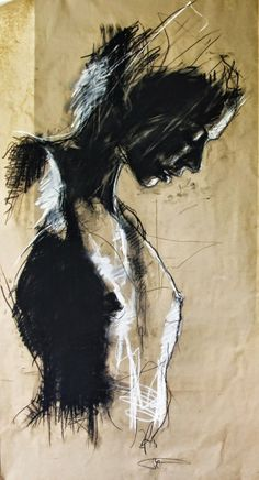 """Guy Denning /'Gorgo Spartan' /Size: 45 x 75 cm """"chiaroscuro"""" """"mark making"""" Figure Painting, Figure Drawing, Painting & Drawing, Inspiration Art, Art Inspo, Figurative Kunst, Abstract Painters, Fine Art, Life Drawing"""