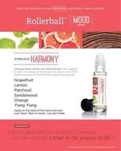 Essential oil roller bottle recipe to embrace harmony.