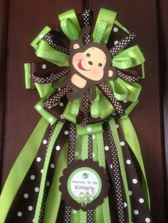 Mommy-To-be Baby Shower Monkey corsage for boy on Etsy, $19.99