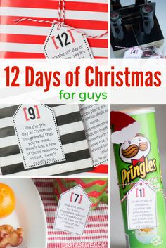 Cute 12 Days of Christmas ideas for guys-- printable tags with poems and gift ideas