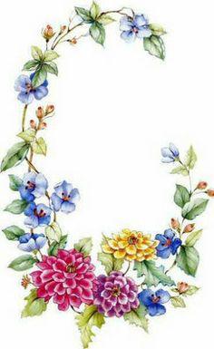 """Floral """"C"""" frame."""