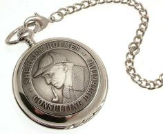 Pocket watch - Solid pewter fronted mechanical skeleton pocket watch - Sherlock Holmes design 40 AEW. $99.00