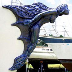 Life size Mermaid Figurehead sculpture on bow of ship, by Brandon Kihl, Kihl Studios Más Mermaid Sculpture, Wood Sculpture, Magical Creatures, Sea Creatures, Ship Figurehead, Mermaids And Mermen, Merfolk, Tall Ships, Art Nouveau