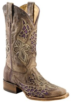 Amazon.com: Corral Women's Distressed Purple Side Wing And Cross Inlay Cowgirl Boot Square: Shoes