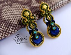 ソウタシエ・イヤリング KaoriNa. Soutache Earrings - Peacock