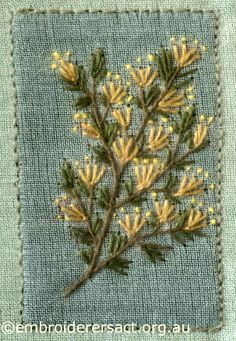 Yellow Straight Flowers from Australian Landscape and Flora stitched by Lorna Loveland