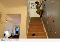 For those who don't like climbing the stairs, this indoor home climbing wall is a great option! Um, I think this would fit right in at my house :)
