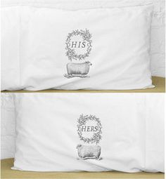 His & Hers Sheep Pillowcase Set, Standard Size by Kinship Goods - contemporary - bed pillows -  - by Etsy