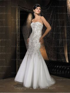 Trumpet/Mermaid Sweetheart Pleating Satin Chapel Train Wedding Dress at Millybridal.com