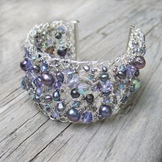 Purple Bracelet - Wire Crochet Bracelet - Purple Cuff - Freshwater Pearl - Swarovski Crystal - Purple Wedding Jewelry - Beach Jewelry