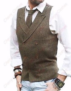 MENS BROWN DONEGAL TWEED DOUBLE BREASTED WAISTCOAT VEST - TAILORED FIT #MensFashionRustic