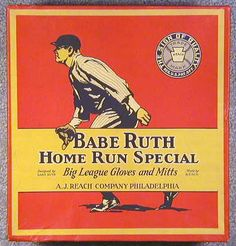 Vintage Babe Ruth Baseball Glove Box
