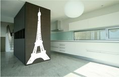 Amazing Paris-Themed Room Ideas and Items : Cool Paris Themed Room Ideas And Items With White Black Kitchen Island Lamp Cabinet With Eiffel Tower Sticker And Stair And Ceramic Floor