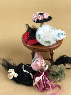 Dollhouse Miniature Artisan Witches Hat with Burgandy Sparkle Bow