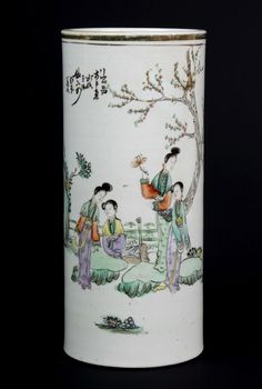 China 19./20. Jh. Zylindervase - A Chinese Famille Rose Vase - Chinois Cinese