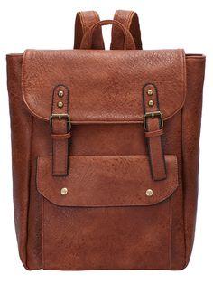 Brown Buckle Magnetic PU Backpack 24.03