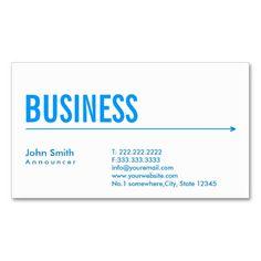 Simple Blue Arrow Announcer Business Card