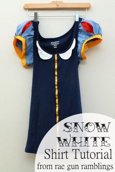 Easy Snow White Shirt Sewing Tutorial upcycling a tank top and some fabric scraps! Perfect for Disneyland and princess races from Rae Gun Ramblings