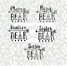 SVG Arrow Mama Bear Papa Baby for Silhouette or other craft cutters (.svg/.dxf/.eps)