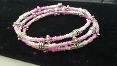 Pink beaded memory wire bracelet #jewelry #bracelet #pink #diy
