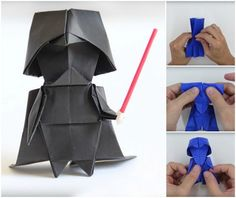 This origami Darth Vader is the perfect addition to Kylo Ren's, or any Star Wars fan's, shrine. Designed and created by origami artist Tadashi Mori, he even has a how-to video to make one of your own. Origami Ball, Diy Origami, Origami And Kirigami, Origami Paper Art, How To Make Origami, Useful Origami, Oragami, Origami Tutorial, Diy Paper
