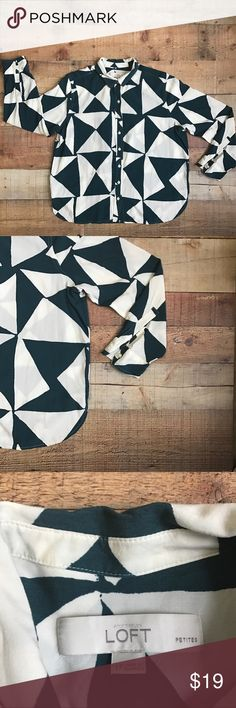 Ann Taylor LOFT Triangle Print Top Gently used printed top. Super flowy and lightweight. Please note this is petite. Colors in the top are cream and a dark teal. Measurements coming soon. LOFT Tops Button Down Shirts
