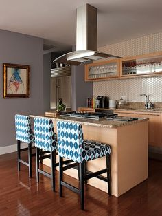 Furniture, Exquisite Transitional Kitchen Design With White Blue Upholstered Stools With Back And Adorable Pattern Also Cream Small Kitchen Island With Brown Granite Countertop Also Modern Small Exhaust Hood And Mod Stoves: Cool Upholstered Bar Stools