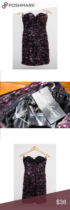 NWT! La Femme Pink Black Sequin Strapless Dress WHAT'S FOR SALE:Up for sale is a 100% authenticNWT La Femme Dress  SIZE:US Women's Size 0 Length - 22 inches Armpit to Armpit -13.5 inches  CONDITION: NWT (CCBOX B ) La Femme Dresses Mini