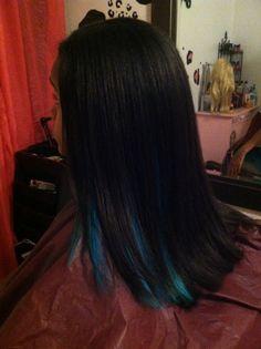 Blue Peekaboo highlight on Black hair