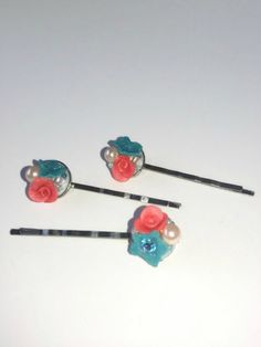 Blue Bridal Hair Pin Rose Hair Pin Pink door ButterflyKissedGlass