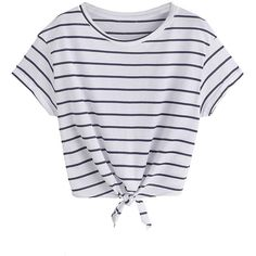 Romwe Women's Knot Front Cuffed Sleeve Striped Crop Top Tee T-Shirt (35 PLN) ❤ liked on Polyvore featuring tops, t-shirts, shirts, crop top, stripe shirt, stripe tee, knit crop top, striped shirts and striped tees