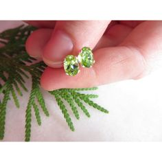 Peridot studs, Sterling Silver earrings, 7x5mm Semi Precious gemstone... ($22) ❤ liked on Polyvore featuring jewelry and earrings