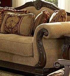 traditional chairs for living room | ... Traditional Wood Trim Chenille Sofa couch Set Living Room Furniture