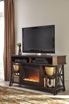 Alymere Extra Large TV Stand With Fireplace Insert | ATTIC ...