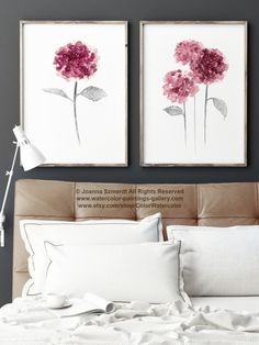 Pink Hydrangea Flowers Set of 2, Floral Watercolor Home Decor, Hydrangea Abstract Flower Art Print, Mother's Day Painting, Girls Room Decor by ColorWatercolor on Etsy