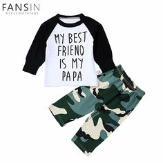 Baby Boys Clothes Long Sleeve Letter Print Casual Top Shirt Camouflage Pants Outfits Set Newborn Toddler Kids Boys Clothing Set