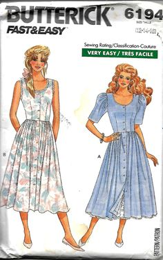 Butterick 6194 Fast & Easy Misses/Miss Petite Dress And Petticoat Pattern, Size 12-16, UNCUT by DawnsDesignBoutique on Etsy