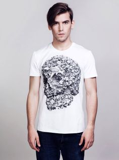 782a8294f1 White crew neck t-shirt with black floral skull