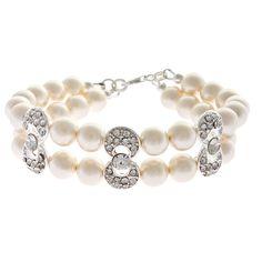 Coco bracelet - two strand bracelet with Swarovski pearls and diamante Freshwater Pearl Bracelet, Wedding Bracelet, Strand Bracelet, Swarovski Pearls, Wedding Hair Accessories, Crystal Bracelets, Wedding Jewelry, Silver, Jewellery