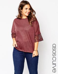 Image 1 ofASOS CURVE Tunic with Lace Sleeve in Linen Look Fabric