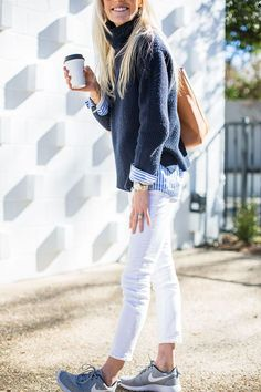 navy blue + white denim