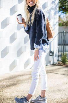 navy blue + white denim