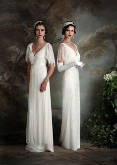 These elegant and feminine 1920s style wedding dresses are the Gertrude and the Rose, from Eliza Jane Howell. - Gertrude Dress | Rose Gown | Eliza Jane Howell