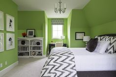 bedroom with bright green walls, pantone green flash used in interior design, sherwin williams lime rickey