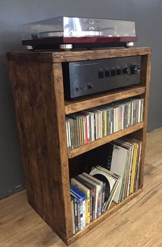 Hi Fi Cabinet/Separates/Reclaimed Wood/Record Player/LP/Vinyl Storage Wooden Pallet Projects, Diy Furniture Projects, Record Player Stand, Record Players, Home Music Rooms, Stereo Cabinet, Vinyl Record Storage, Audio Room, Rack