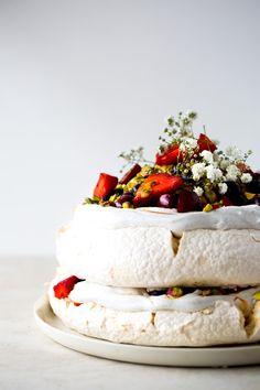 #Vegan Pavlova with Saffron Berries, Passionfruit & Pistachio