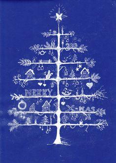 Kerstboom getekend met witte inkt op gekleurd papier (bovenbouw, kerst)